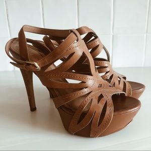 Guess Tan Platform Open Toe Strappy Heel